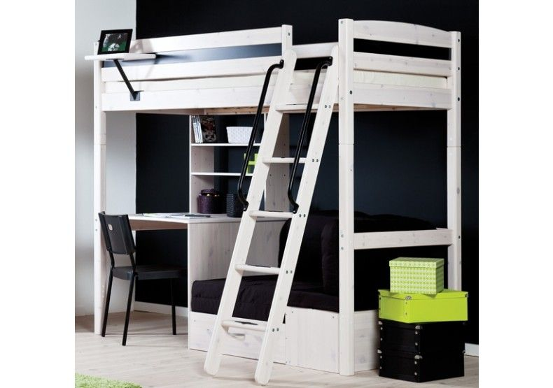 Pari Whitewash High Sleeper Bed With Desk Sofa Bed Hoogslaper
