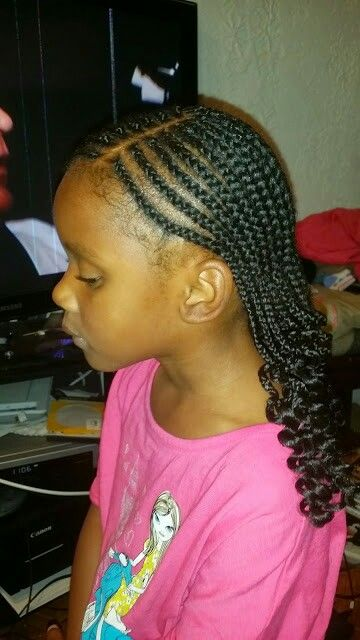 Enjoyable Cornrows With Curly Ends Cute Cornrows Little Girl Hairstyles Natural Hairstyles Runnerswayorg