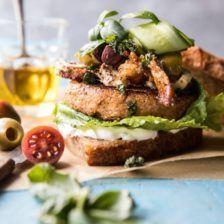 Greek Roasted Cauliflower Burgers with Pan Fried Feta and Tomato Olive Salad   - Half baked harvest -