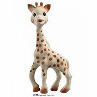 The little giraffe was born on the 25th of May in the year 1961?St Sophie?s day! Its size and shape make it ideal for a baby?s small hands to grasp. Sophie the Giraffe helps teething baby stop crying! She is made from 100% natural rubber derived from the sap of the Hevea Tree. More than 30 million Sophies have been sold!