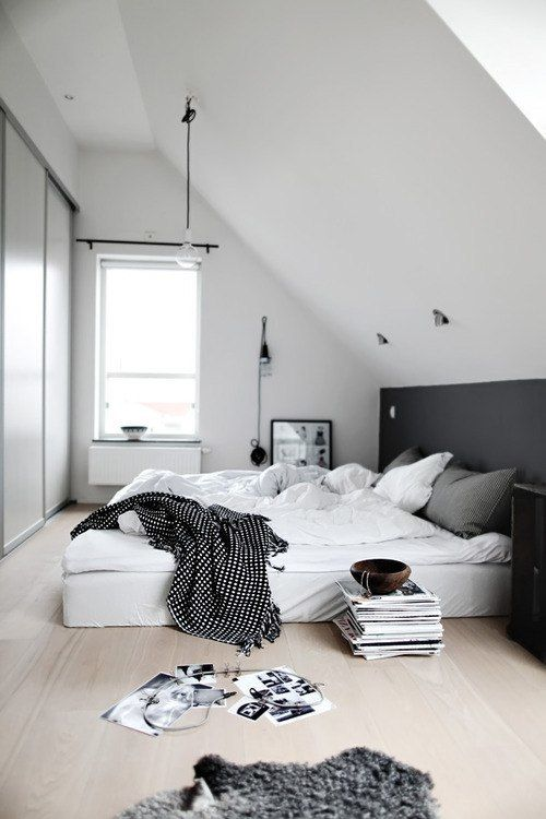 Dream Bedroom Bed Black And White Interior Magazine Plant