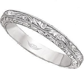 FlyerFit Hand Engraved Wedding Band  : This vintage style band by Martin Flyer features hand engraved scroll working going all the way around the ring.: