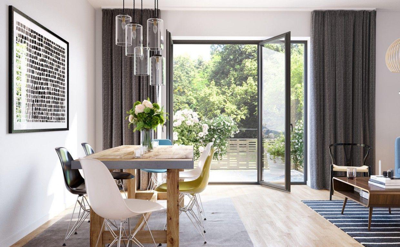 Gartenhaus - helle und offene Wohnräume mit bodentiefen Fenstern und ...