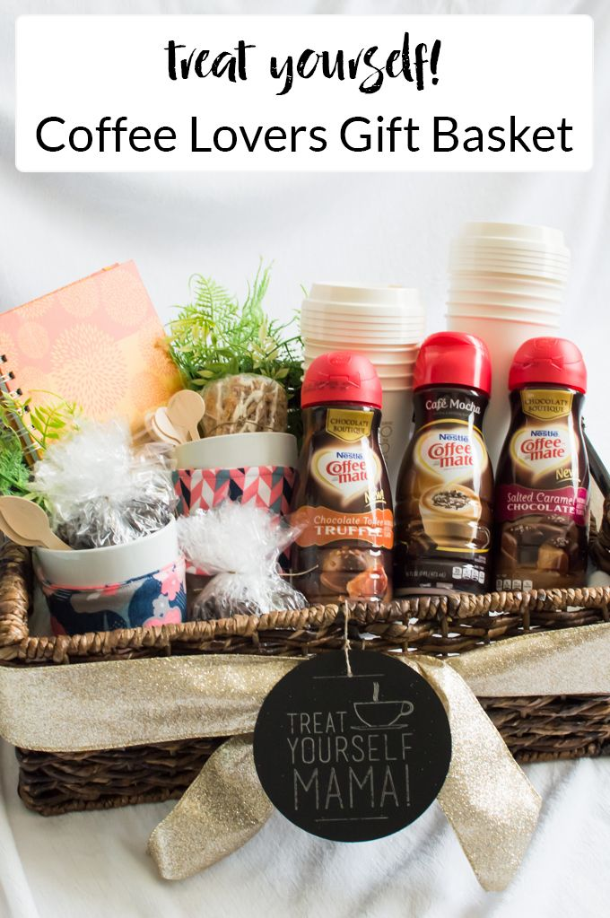 Treat yourself mama a coffee lovers gift basket coffee lover make a coffee lovers gift basket that includes diy coffee sleeves nestle coffee mate liquid coffee creamer and other fun things to give to a new mommy so solutioingenieria Images