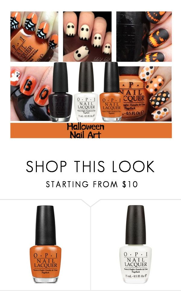 """Halloween Nail Art"" by boho-at-heart ❤ liked on Polyvore featuring beauty, OPI and nailart"