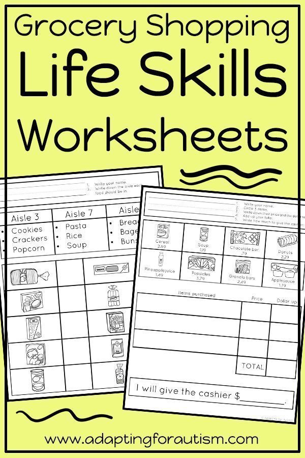 Life Skills Worksheets For Special Education And Autism Grocery
