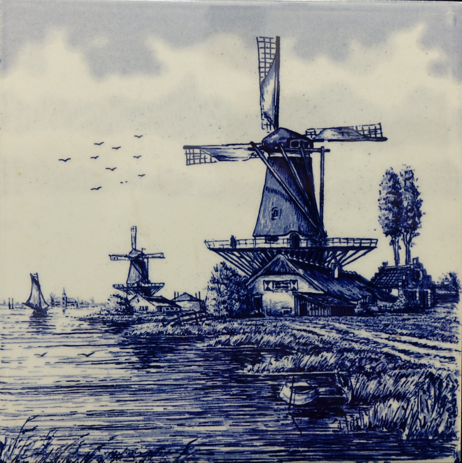 Delft Blue, Windmill Art Tile, Vintage Decor Supply by ...