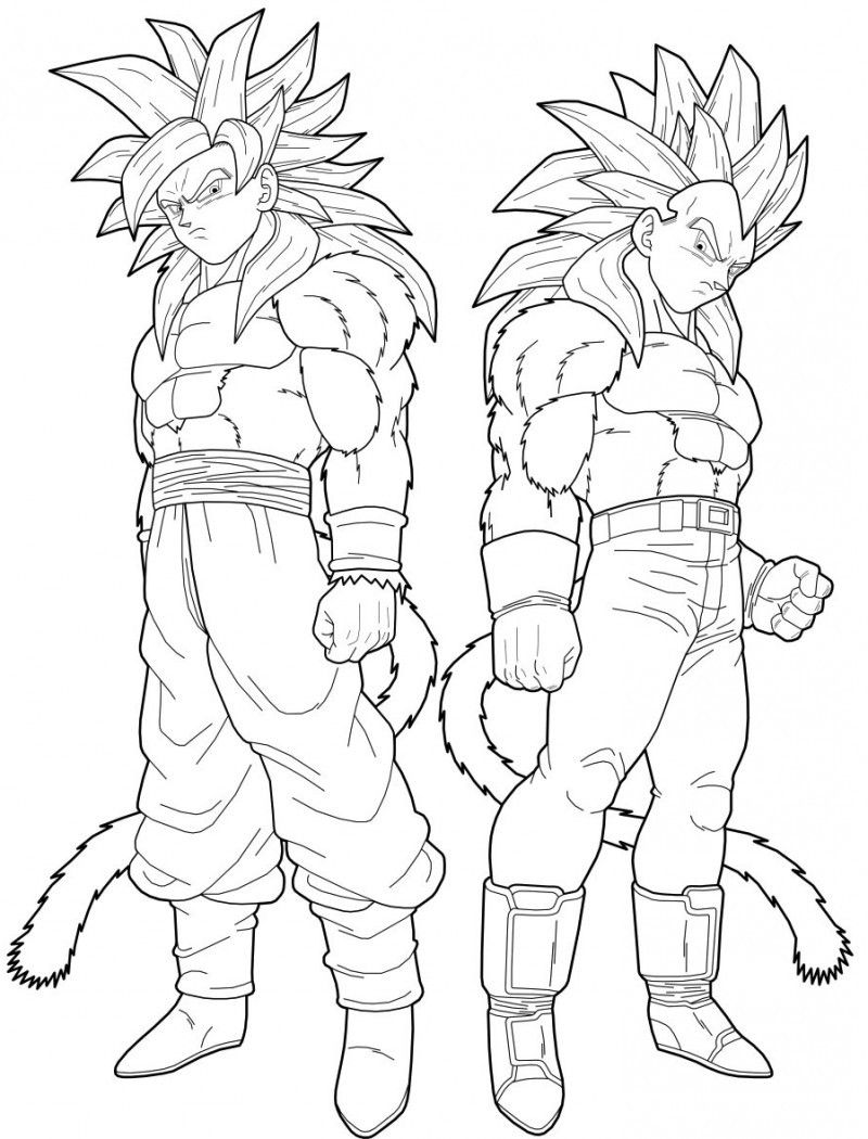 Vegeta And Goku Super Saiyan 4 Coloring Pages Dragon Ball
