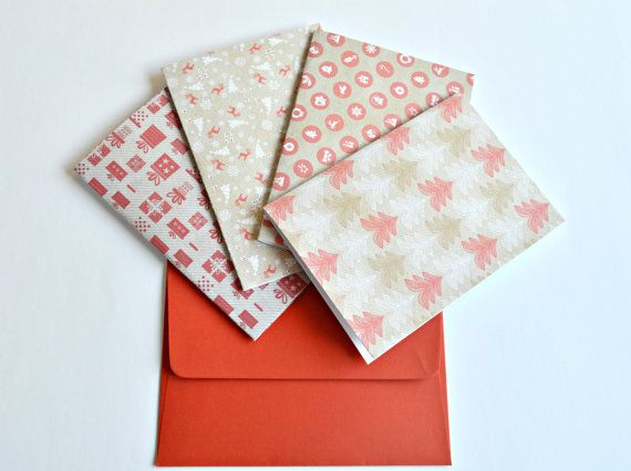 Set of 4 Mixed Christmas cards Christmas note cards by MintPaperCo