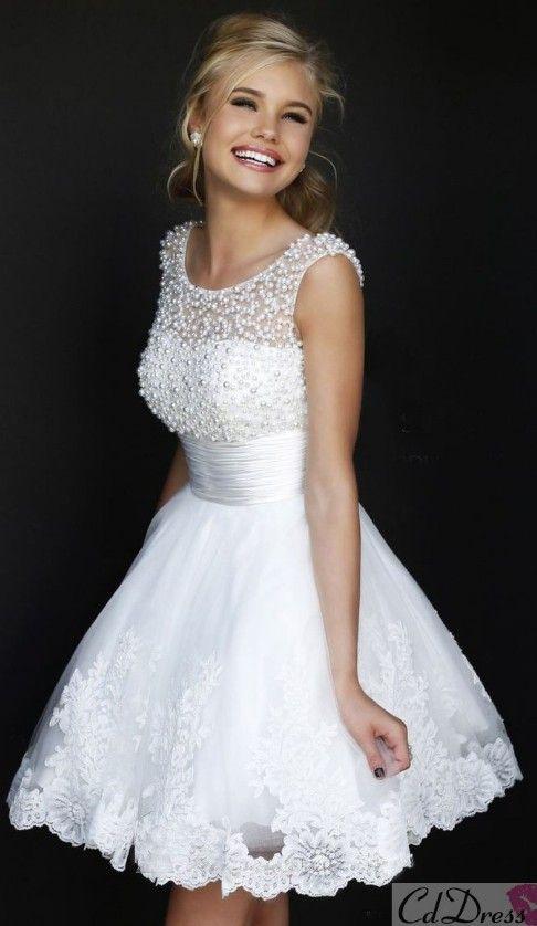 Long white sweet 16 dresses