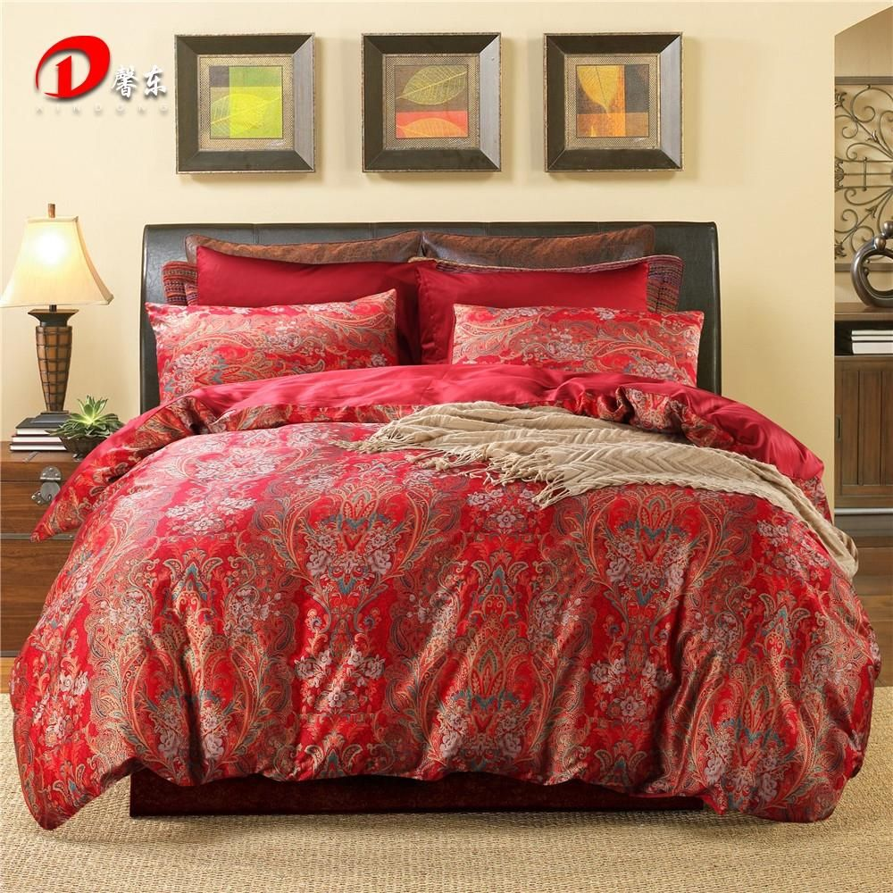 Luxury Phoenix Satin Bed Set Dark Red Egyptian Cotton Bedding King Queen Size High Quality
