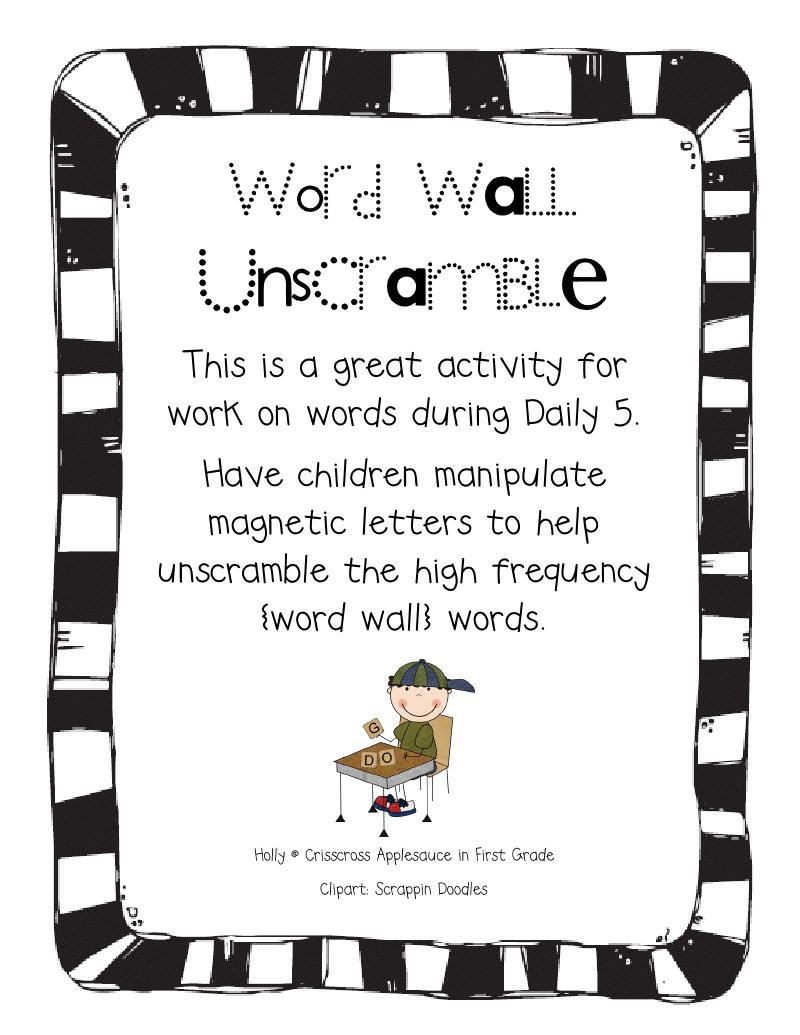 Magnetic Letters Clipart : magnetic, letters, clipart, Crisscross, Applesauce, First, Grade:, Daily, Words, FREEBIE, Words,, Reading, Unscramble