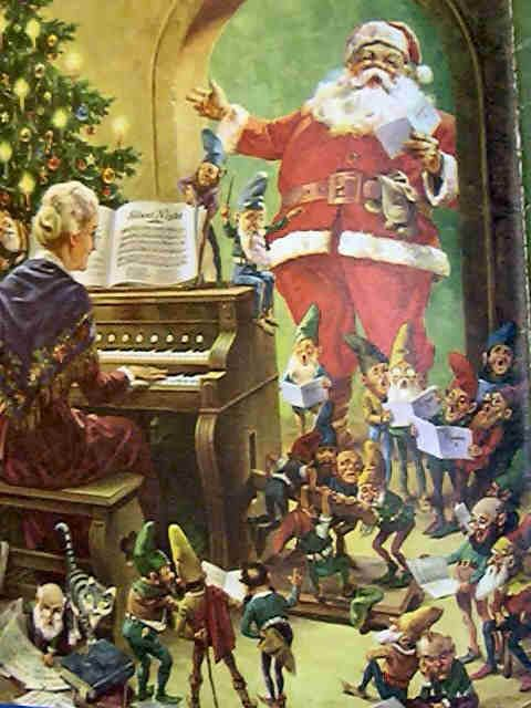 Mrs Clause playing Piano for Santa and Elves Christmas