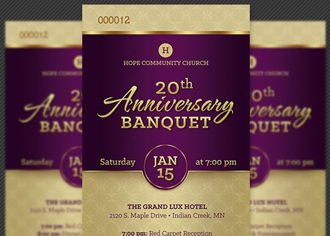 Church Anniversary Banquet Ticket Template Is For Anniversary
