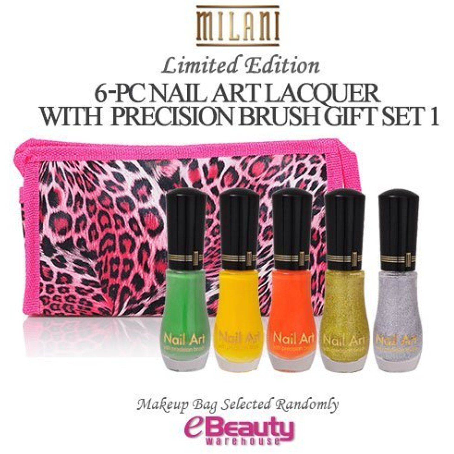 MILANI 6PC GIFT SET- NAIL ART LACQUER with precision brush, Nail ...