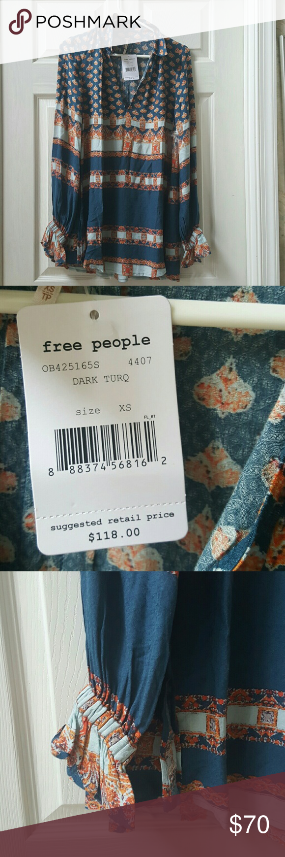 Free people tunic sz xs Brand new with tags  adorable , banded sleeves  at wrist with flair. Hate to part , but can only wear so many, price is firm and yet still a steal Free People Dresses