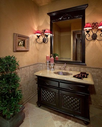 Apartment Bathrooms Ideas Bathroom Designs: Black Tiles, Powder Room Mirrors And Gold Powder