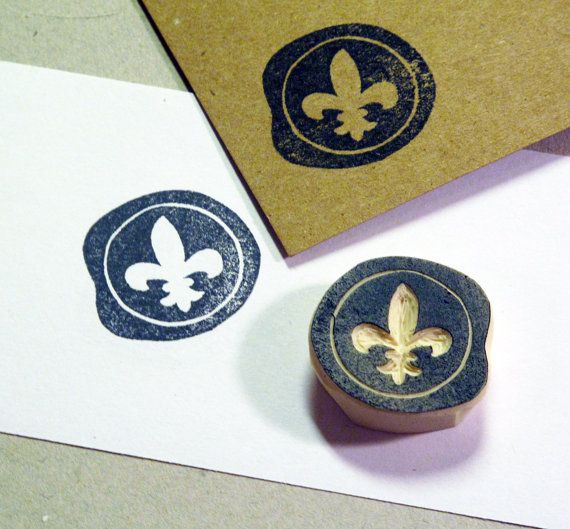 Fleur de Lis Seal Rubber Stamp . Hand-Carved and Unmounted $10