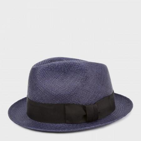 38e51fbdf Paul Smith Men's Hats - Christys' Navy Straw Panama Trilby Hat ...