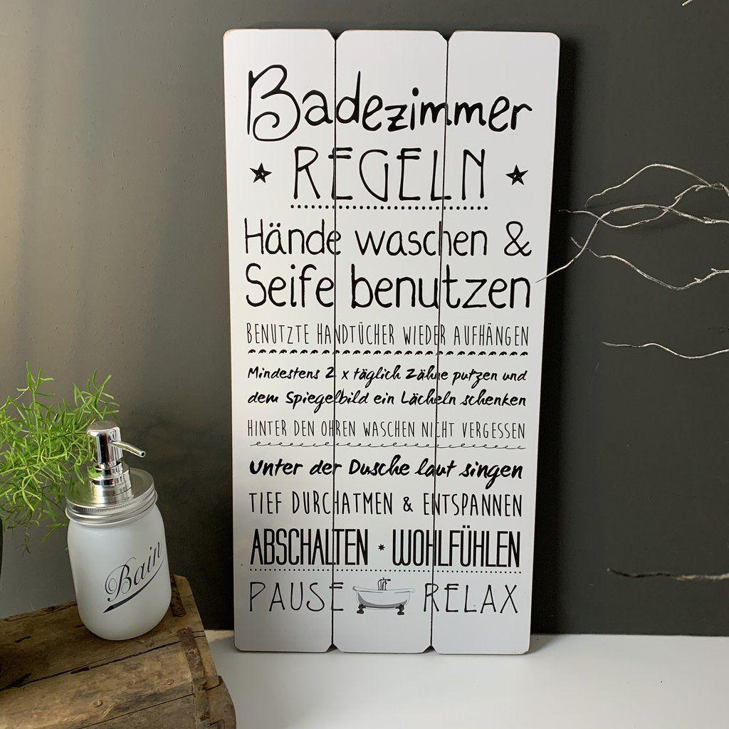 Schild Holz Badregeln Badezimmer Regeln Schilder Holz