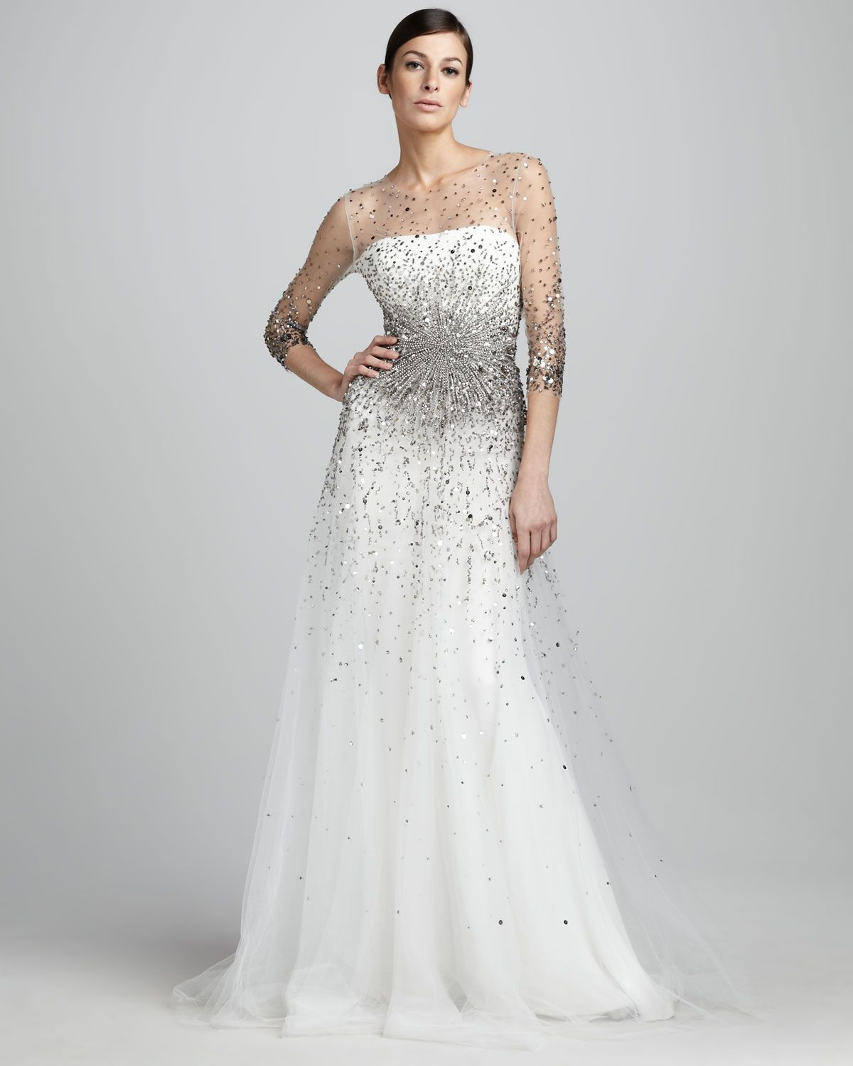 Marchesa bridal 2012 wedding splurge top 10 for fall 2012 sequined illusion gown by marchesa couture at neiman marcus marchesa couture sequined illusion gown illusion neckline and sleeves with sequins ombrellifo Image collections