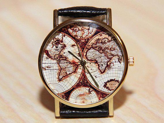 Wrist watches antique world map watch world map travel clock wrist watches antique world map watch world map travel gumiabroncs Image collections