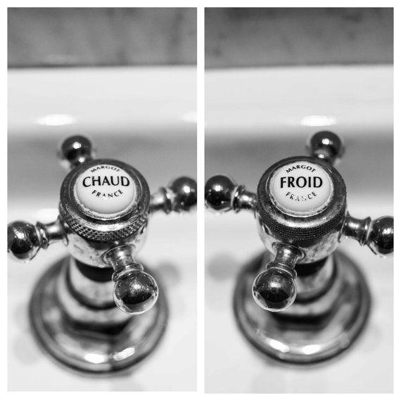 Fotografia di Parigi, arte bagno francese, calda e fredda, insieme bagno Decor, bagno arredamento di sanitari francese 2 stampe, bianco e nero,
