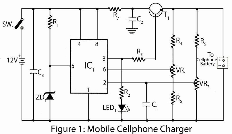 Mobile Cellphone Charger Circuit Diagram Circuit Diagram Cell Phone Electronics Projects