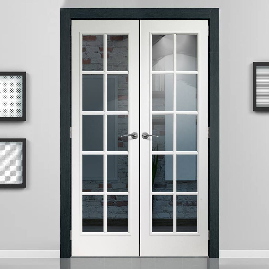 Portobello White Door Pair Clear Glass Prefinished Internal Double Doors Sliding Doors Interior French Doors Interior