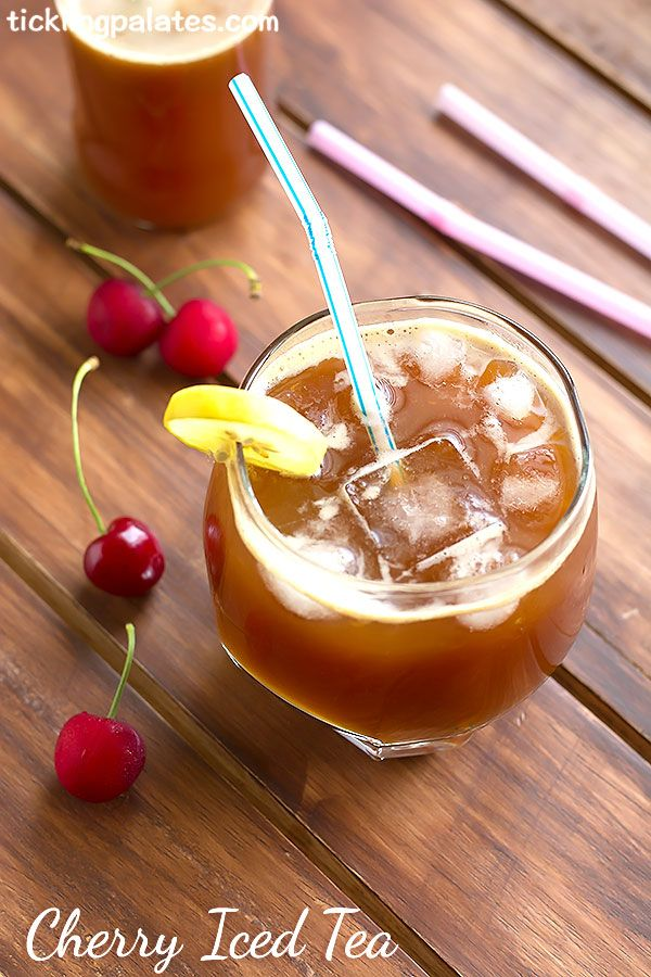 Cherry Iced Tea Recipe. A perfect recipe to make using those tart cherries during the cherry season and to help you beat the heat in Summer.