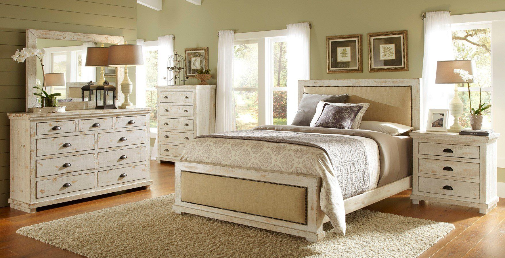 Willow Upholstered Bedroom Set Distressed White In 2020 With