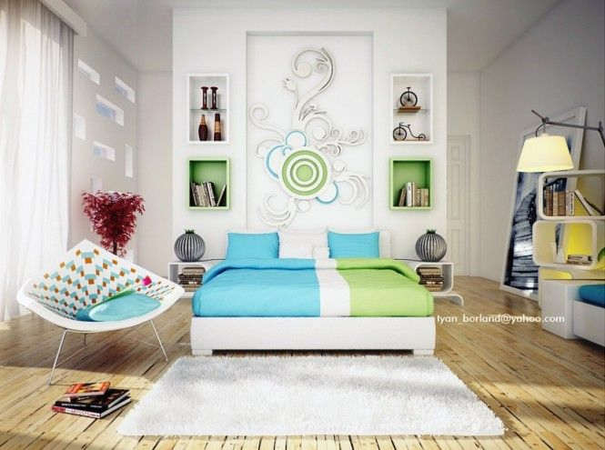 If modern is more your style, try adding interest to your headboard wall by hanging a contemporary painting above your bed, apply an abstract graphic design, or use a vinyl wall sticker for a quick but effective solution. -view 2