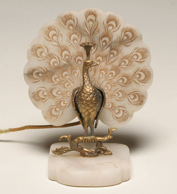 Vintage Lamps | Vintage Brass And Alabaster Peacock Lamp | Antique Helper