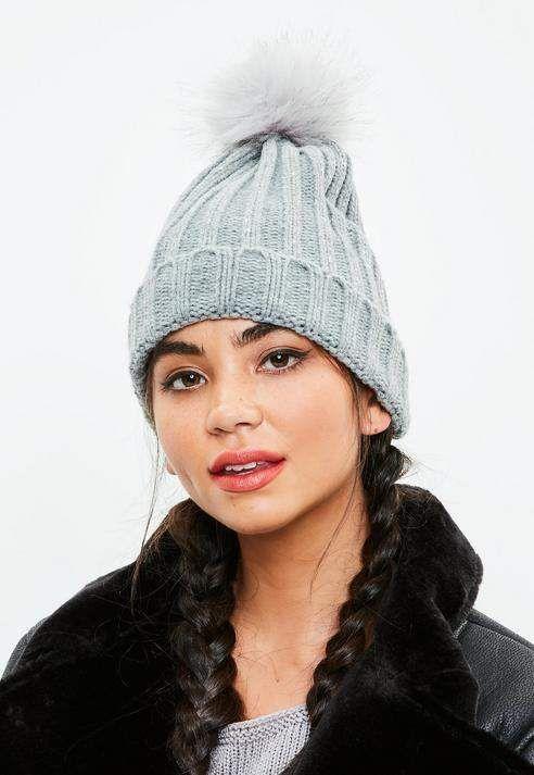 51d8b2b69ac Missguided Grey Metallic Faux Fur Pom Pom Beanie Hat