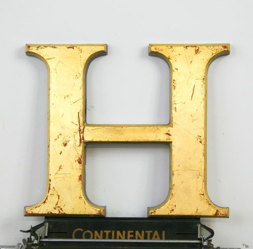 Letter H Wall Decor industrial letter h antique signage vintage 24 carat gold leaf
