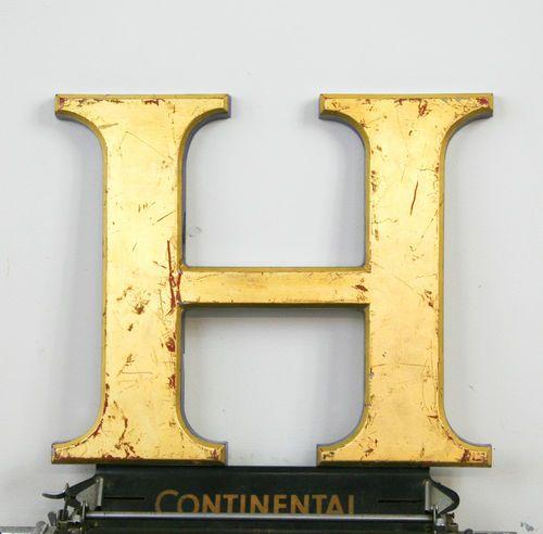 Industrial Letter H Antique Signage Vintage  Carat Gold Leaf