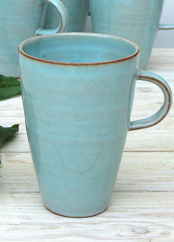 Turquoise Pottery Mug Ceramic Mug Tall Coffee Mug