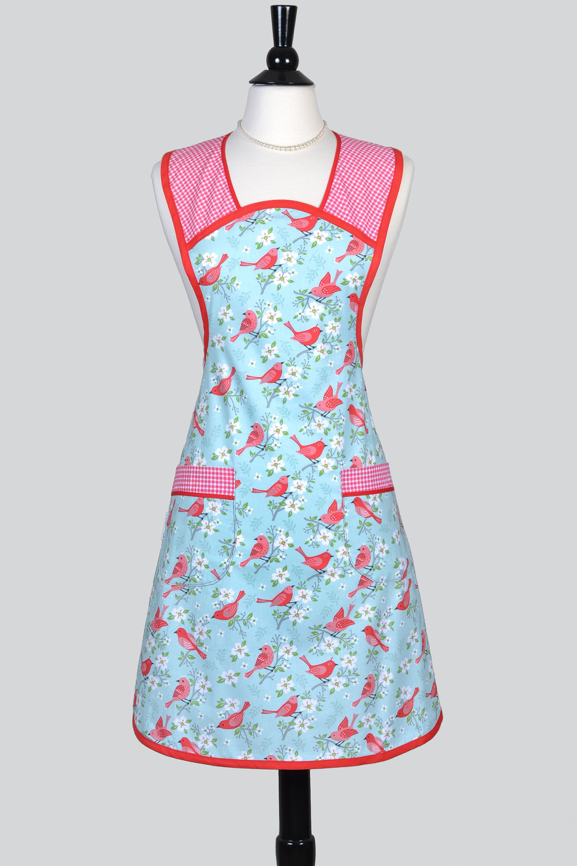 Women\'s Ruffled Kitchen Chef Apron . Birds and Gingham on Blue Retro ...