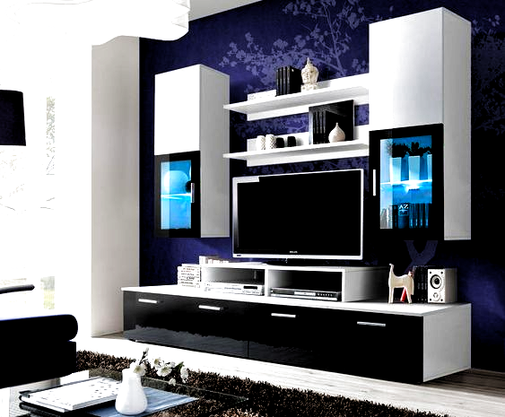 Toledo 2 Black And White High Gloss Wall Unit In 2020 Entertainment Center Wall Unit Entertainment Centers For Sale Wall Mount Entertainment Center