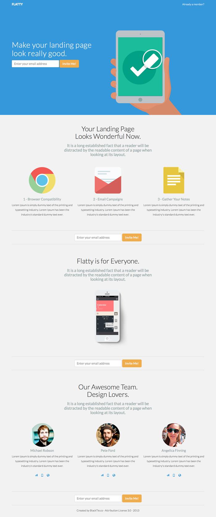 Flatty Bootstrap App Landing Page Template Landing