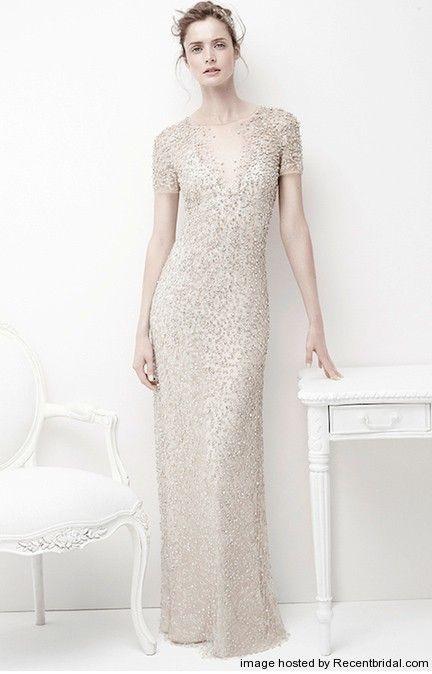 Jenny Packham champagne column wedding dress with a V-neck | dresses ...
