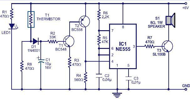 """FIRE ALARM CIRCUIT""The circuit which can detect fire"
