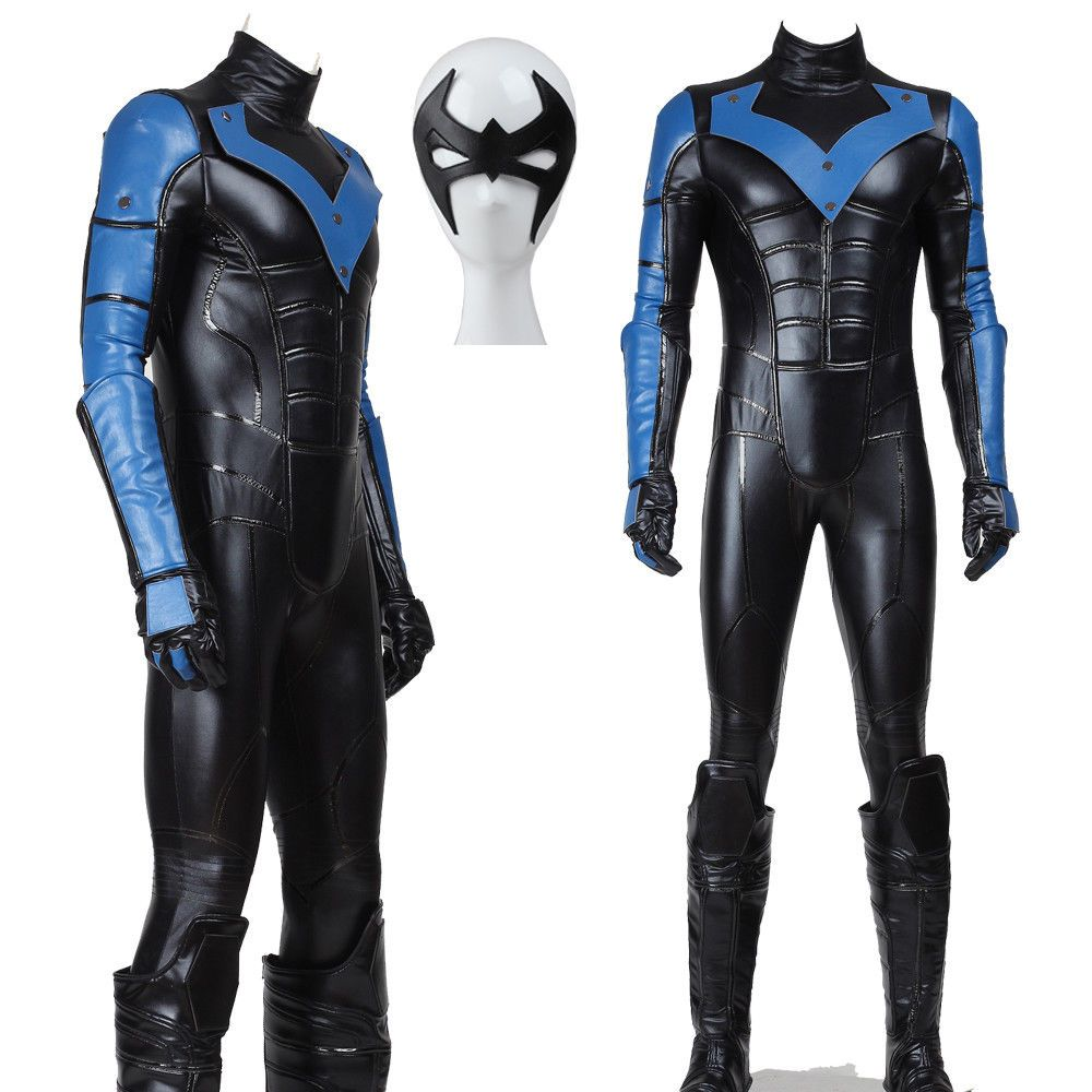 Young Justice Nightwing Cosplay Costume Black Jumpsuit Men Party Outfit In Stock