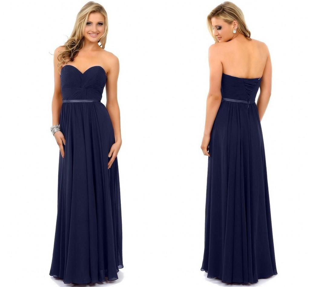 simple navy blue long chiffon Prom Dresses 2015 sweetheart ribbon ...