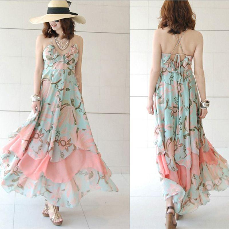 Bohemian Chiffon Dress tube sling beach skirt