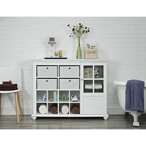Altra Furniture Reese Park Storage Cabinet with 4 Fabric Bins Glass Door