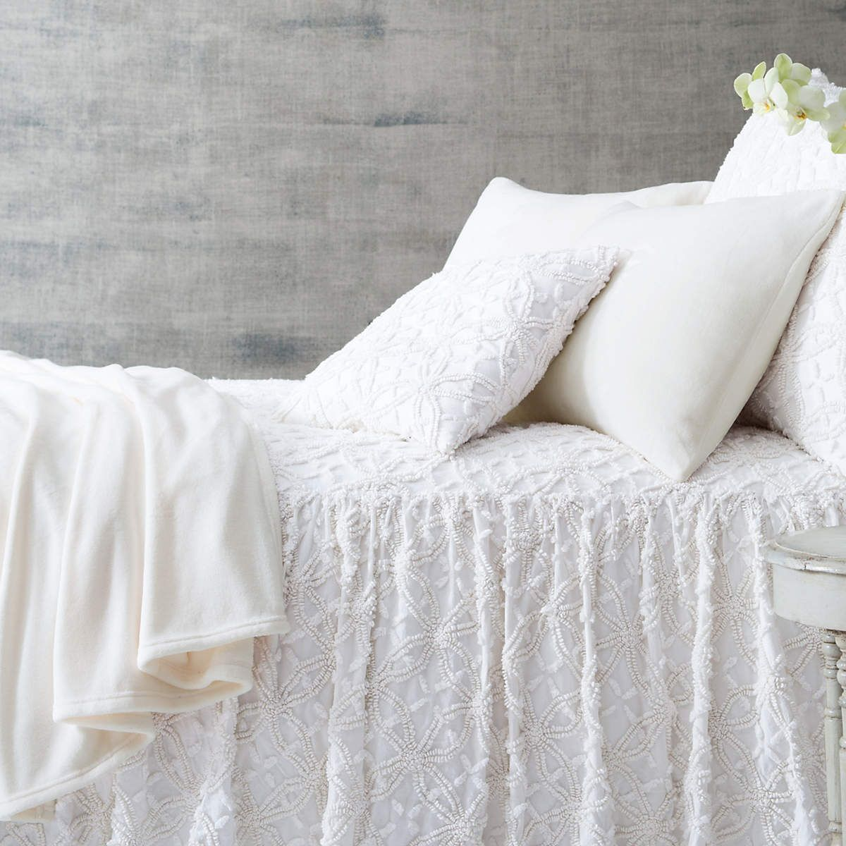 Created By An Old School Stitching Technique Our Cotton Bedspread Pops With Rich Modern Colors Gathered Unlined White Bedspreads Bed Spreads White Bed Set