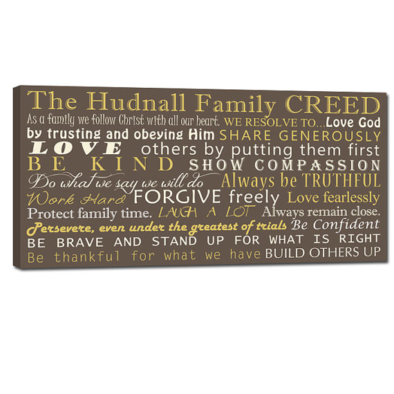 Family Creed with your family's motto House by GeezeesCustomCanvas, $230.00