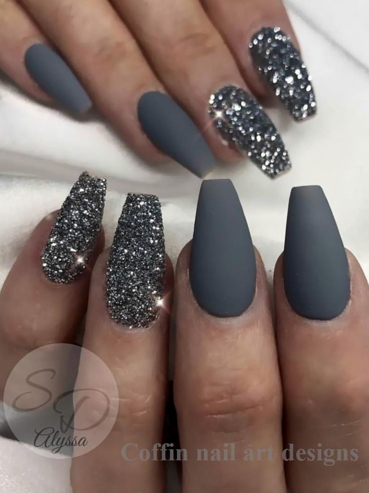 20 Trendy Coffin Nail Art Designs 1 Nails Coffin In 2020 Grey Nail Designs Coffin Shape Nails Popular Nail Designs