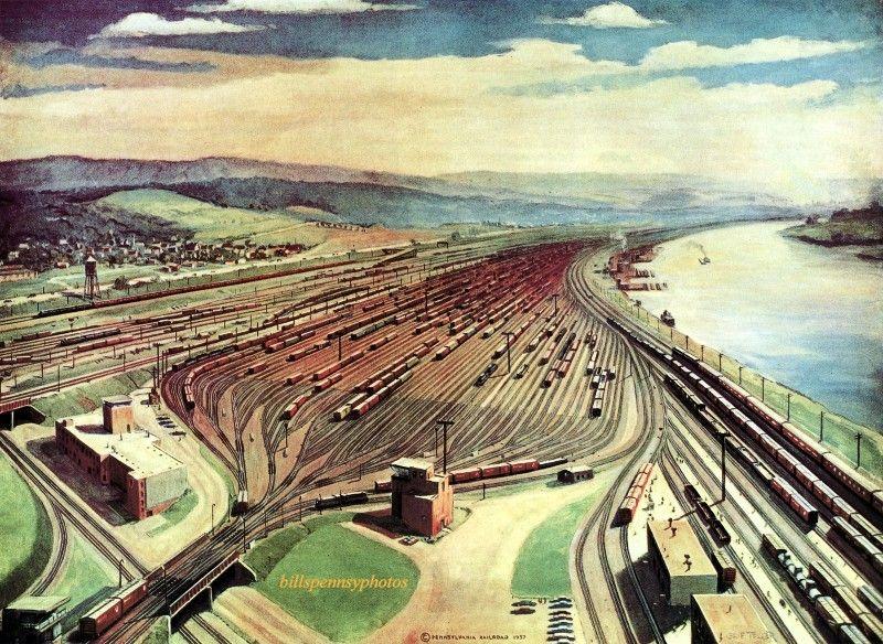 1958 conway yard train pictures train art railroad art